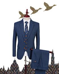 Terno de ordem on-line-Azul Herringbone Tweed Três Peças Dos Homens Ternos de Casamento Smoking Melhores Homens Groomsmen Lazer Terno Partido Do Baile Feito Por Encomenda (Jaquetas + Coletes + Calças)