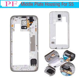 Samsung galaxy s5 partes online-Cubierta de la cámara de la placa del medio de la cubierta del bisel de la cubierta del OEM todas las piezas pequeñas para el Samsung Galaxy S5 G900F G900A G900V G900T plata barato