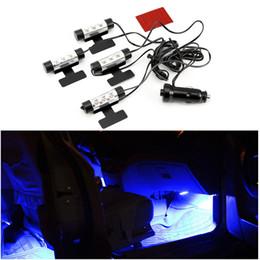 interno dell'automobile viola Sconti 4x Blu Viola Car Interior Illuminazione 12V Interni decorativi al neon Sotto Dash Piano 3 LED luce di striscia della lampada si illumina in macchina