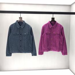 Chaqueta de mezclilla de los hombres de impresión online-2019 para hombre diseñador de chaquetas de mezclilla de lujo Vintage patrón de impresión de ropa con capucha de manga larga camisas de las mujeres Hombres Mujeres etiqueta verdadera Nueva