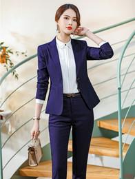 Ufficio di pantaloni viola online-Le donne della giacca sportiva delle donne della blazer viola formale di alta qualità si adattano all'abbigliamento da lavoro delle signore
