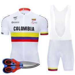 2019 колумбийский набор 2019 Команда COLOMBIA задействуя Джерси Bib Set MTB Uniform Велосипед Одежда Quick Dry велосипед Одежда Wear Мужские Короткие Майо Culotte дешево колумбийский набор