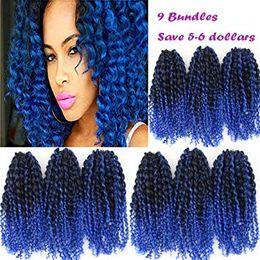 trenzas de paquetes Rebajas 8 pulgadas Marlybob Crochet 9 Bundles / Lot Kinky Curly Crochet Hair Ombre Color Curly Crochet Braiding Hair Extensión del cabello sintético (1B / Blu