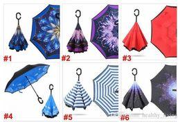 Зонтик для автомобилей онлайн-C Ручка Зонтик Перевернутый Складной 37 Стили Обратный Зонт Двойной Слой Перевернутый Ветрозащитный Дождь Зонты Автомобиля Для Женщин Мужчин Подарки