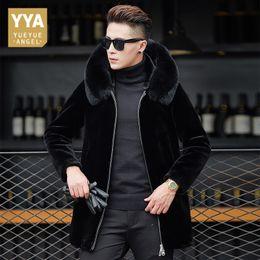 подлинные черные шубы Скидка Winter Genuine Leather Long Jackets for Men Fashion  Black Sheepskin Shearling Coats With  Fur Collar Warm Real Fur Coat