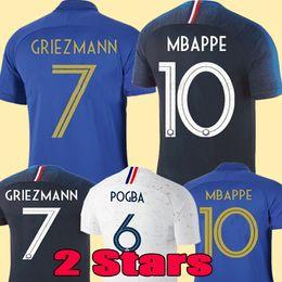 France soccer jersey football shirt Camiseta de fútbol de Francia 2019 100 aniversario 100 años 2 estrellas chandal del equipo de la Copa del mundo 2018 de Nueva Griezmann MBAPPE desde fabricantes