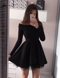 Vestidos De Cóctel Elegantes De Manga Larga Vestidos Cortos Coctel Mujer 2019 Una Línea De Vestidos De Graduación De Regreso A Casa Negro Plisado