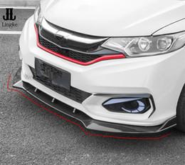 2019 honda fit carbono Estilo de fibra de carbono Pára-choques dianteiro Lip Cover Trim Para Honda FIT JAZZ 3 PCS 2018-2019 honda fit carbono barato
