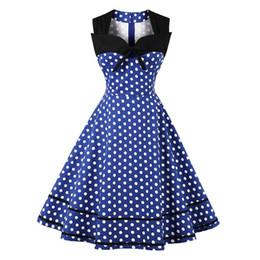 vestidos estilo bloco de cores Desconto Retro Estilo Hepburn Clássico Pontos Imprimir Color-bloqueio Piecing Magro Cintura Flare Vestido