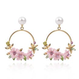 Bordi decorativi online-1 Paia Personalità Polymer Clay Sakura bordo decorativo perle circolari strass perla di lusso Orecchini pendenti