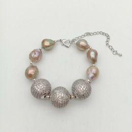 "Perle di keshi naturali online-NUOVO 8 ""Natural 12X15mm Purple keshi Pearl Cz pavimenta il braccialetto di perline"