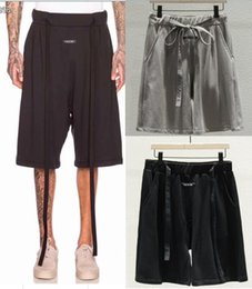 justin cintos Desconto 19ss mais recente verão justin bieber preto vintage medo de deus nevoeiro com cinto shorts hip hop suor shorts streetwear moda shorts de algodão