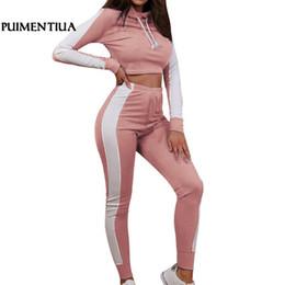 Puimentiua Pink Patchwork Casual Casual 2 Piece Set Sweat à capuche Sexy Crop Top Skinny Pants Sweatsuits Deux Survêtements Survêtements 2019 Nouveau ? partir de fabricateur
