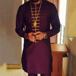 abiti tradizionali africani Sconti Tradizionale Dashiki Riche maglietta lunga Maschio Abbigliamento africano manica lunga 2019 Autunno Inverno uomo Tee Shirt