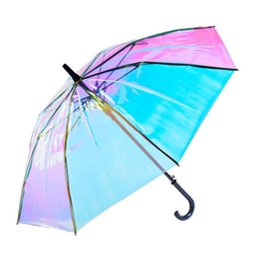 2019 couleur parapluie transparente Parapluie transparent couleur laser à manches longues coupe-vent parapluie pour adulte cadeaux mode pluie parasol parapluie pour femme KKA6523 couleur parapluie transparente pas cher