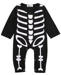 Ropa de niños esqueleto online-Invierno de Halloween Niños Ropa de Mameluco Bebé Recién Nacido Niño Niña de Halloween Mamelucos de Algodón Esqueleto Traje Ropa Traje