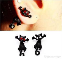 orecchini stereoscopici Sconti Orecchini a bottone in cristallo rosso punk nero Orecchini a forma di gatto stereoscopico Kitten Impalement Orecchini punk