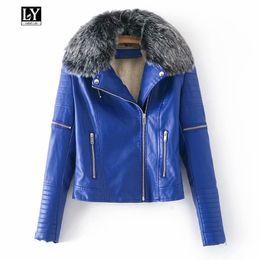 Ly Varey Lin Donna Inverno caldo in ecopelle collo di pelliccia Giacche  Lady nero rosso blu PU Biker Moto Capispalla Cappotti colletto di pelliccia  blu di ... 3e2e83339299