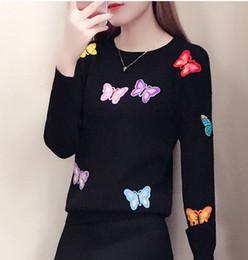 Venta al por mayor-2019 Casual Primavera Otoño Invierno Mujeres Trabajo  Oficina Pullover Suéteres de punto Tops Manga larga bordado suéter de  mariposa 053377fa2e2