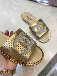 Dedos dos pés grandes chinelos on-line-Marca Big Name Estilo de Mercadorias Sapatos Femininos Sandálias Chinelos Toe Tie Estrelas Douradas de Couro Genuíno de Salto Baixo