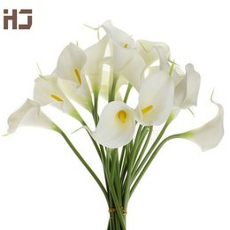 lirios de bodas Rebajas 20pcs / lot de la cala de la flor artificial de la PU tacto verdadero decoración del hogar Flores ramo de la boda decorativo Flores XZ014