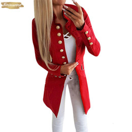 Костюмы для офиса онлайн-Костюм качества леди высоких способ женщин Простой офис нагрудный длинный рукав застегнутого Slim Fit Малых куртки отворот пальто Горячие продавать
