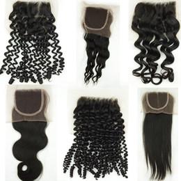 color de pelo para los asiáticos Rebajas Virginal peruano brasileño Cierres de encaje Onda del cuerpo Indio Malasio Rizado Piezas de cabello humano Recto 4x4 2x6 Cierre superior Fábrica barata