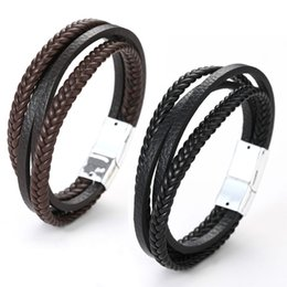 Handmade Adjustable Mens Bracelet with Silver Titanium Magnetic Clasp 8.66 # Rings 22cm 1 More Clasp Included Braided Rope Genuine Leather Bracelet for Men TORQUILA Mens Bracelets Length