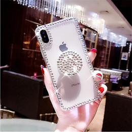 manijas de los casos de iphone Rebajas Para Iphone 5C 5S SE 6 6S 7 8 Plus X XS MAX XR Soporte de manija de airbag de lujo Diamantes de imitación Diamante Brillo Funda de teléfono Funda Cristalina