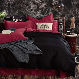 Kids bedsheet on-line-100% Algodão Preto Cor Vermelha King Queen Gêmeo tamanho Crianças Conjunto de cama Capa de Edredão Sólida Bedsheet / Fitsheet Fronhas