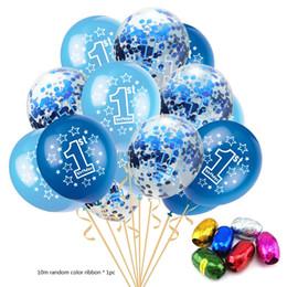 Confetti baby online-15pcs / set Baby Shower 1 ° compleanno palloncini Set rosa blu confetti palloncini in lattice per la ragazza del ragazzo 1 anno di età accessori per feste di compleanno