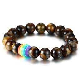 Sinal do arco-íris Orgulho Gay Tiger eye beads pulseira Para Homens mulheres Lésbica Amor Lava Rock Difusor do Óleo Essencial Bangle LGBT Jóias em Massa cheap bulk eyes de Fornecedores de olhos grandes