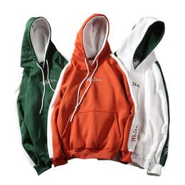Männlicher weißer mantel online-weiße Stickerei Hoodie mit Kapuze Pullover Männer Frauen Herbst Winter männlich weiblich Mantel outwear Sweatshirt LJJA3004
