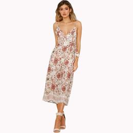 Rosa breite beinhose online-Frauen National gedruckt hoch taillierte Hose mit weitem Bein Hosenträger tief V Sexy Jumpsuits S-XL Rosa Muslimische Kleidung Mode