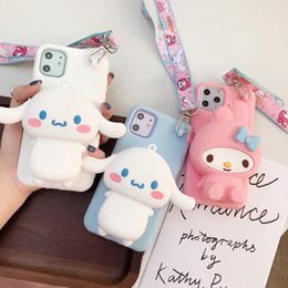 3d soft case cat Promo Codes - New cute Korea 3D lanyard wallet Japan cat My Melody Soft Silicon phone Case for iphone X XR XS MAX 7 8 6 11 Pro Plus pink cover