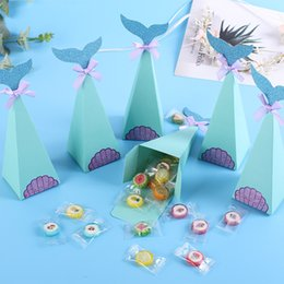 dessert boxes Promo Codes - Little Mermaid Gift Boxes Blue Tray Dessert Candy Box Child Birthday Party Candy Bags Wedding Party Accessories Favor Paper Box BH1995 CY
