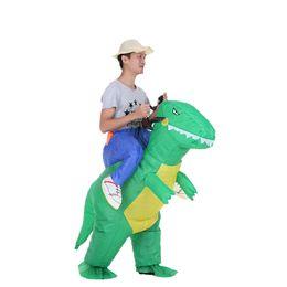 2019 padrões de iluminação exterior Bonito Crianças Dinossauro Inflável Traje Terno Fã de Ar Operado Andando Fancy Dress Halloween Partido Outfit T-Rex Inflável Animal Costume