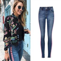 2019 jeans rosa caldi SupSindy Hot donna jeans Pink Glitter stripe Pencil Pants donna skinny Elastico stretch blue jeans per donna denim lavato femminile jeans rosa caldi economici