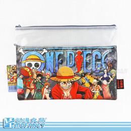 2019 casi a4 2016 nuovo Anime giapponese One Piece tema blu matita caso cerniera piatta matita casi formato A4 valigetta sconti casi a4