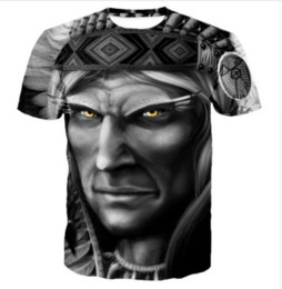 Cime in stile indiano online-New Fashion 3D T-shirt Casual American Indian Face Estate Style Uomo Donna Top manica corta creativo stampato Tees ZCQ035