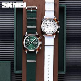 2020 skmei ver mujeres SKMEI NUEVO Reloj de cuarzo multialbo para mujer Relojes de pulsera de oro rosa de lujo para mujer 2019 Nylon Bran Sport Watch Relogio 9186 skmei ver mujeres baratos