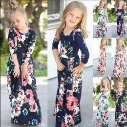 Çocuklar Bebek Kız Moda Boho Uzun Maxi Elbise Giyim Uzun Kollu Çiçek Elbise Bebek Bohemian Yaz Çiçek Prenses elbise T0209 nereden bebek bebek kostümleri tedarikçiler
