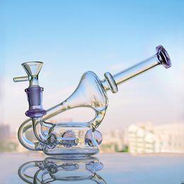 2019 gafas mcdonald Púrpura Bong Pequeñas pipas de agua de vidrio Reciclador Klein Plataformas de aceite Chicha Unqiue Bongs Agua de vidrio embriagadora Bongs con un tazón de 14 mm Shisha 5.5