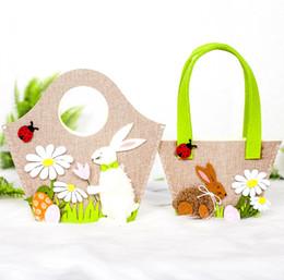 tissu de lapin de pâques Promotion Sacs de panier de lapin de Pâques sac fourre-tout en tissu pour oeufs de Pâques jouets cadeaux de bonbons décorations de Pâques de printemps