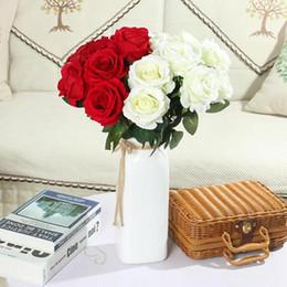 decorazione candela rossa Sconti Singola bella rosa peonia fai da te bouquet di fiori di seta artificiale festa a casa primavera decorazione di nozze matrimonio falso fiore BH0914 TQQ