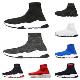 8155666234e67 Wholesale designer men women Speed Trainer Casual Luxury Brand Sock Shoes  black white blue glitter mens Runner Trainers sneakers size 36-45