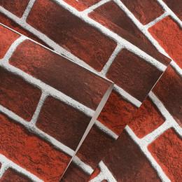 2020 vinyl-ziegel-tapeten Rote Weinlese Rustic Stone Brick Tapete Rolle Wohnzimmer Schlafzimmer Restaurant Hintergrund Loft 3D-Wand-Papier günstig vinyl-ziegel-tapeten