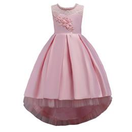 Vestido de encaje niña flor de la moda online-Niñas de moda de encaje de flores Princesa Vestidos Fiesta de bodas para niños Prom Tutu vestido NUEVO