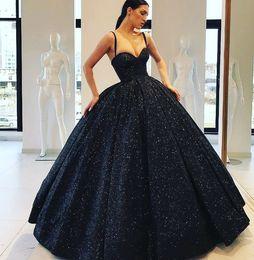 a3eba2e42a 2019 Hermoso vestido de bola Vestidos de quinceañera Brillante Bling Bling  Correas de espagueti sin respaldo Largo del piso de lentejuelas vestidos de  noche
