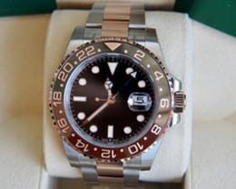 vogue relógios por atacado Desconto New Rose ouro GMT2 Listado V3 Versão Batman mens watch movimento automático Cerâmica Rotativa Bezel vidro de safira cinta de aço relógio de pulso